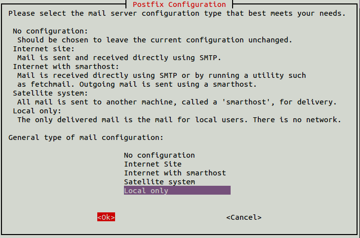 Select Internet or Local Mail server