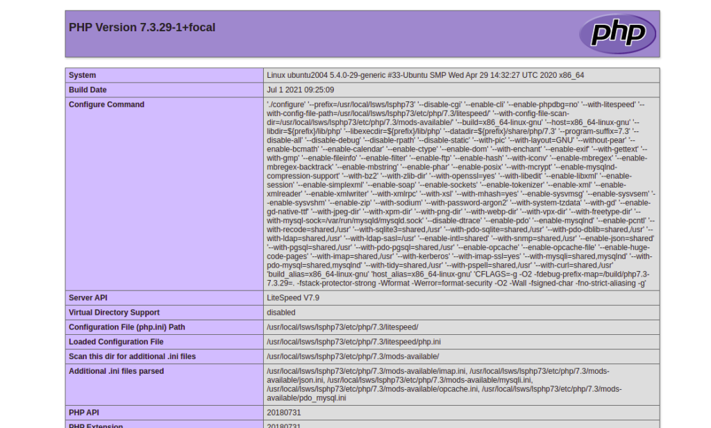PHP 7.3 Page