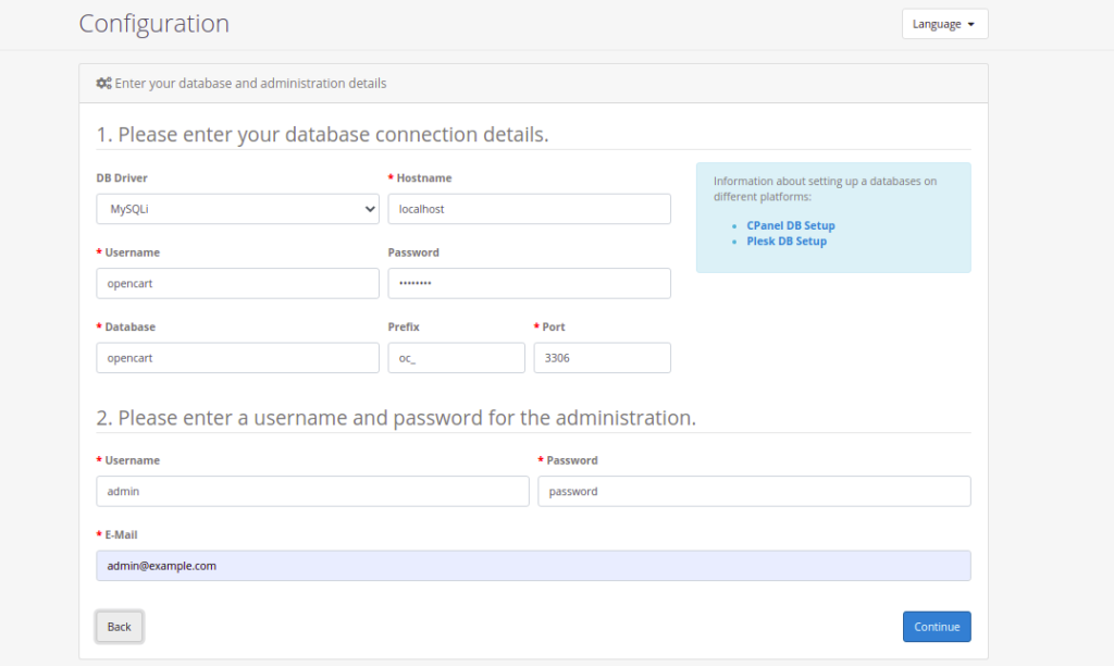 Opencart Database Setup Page