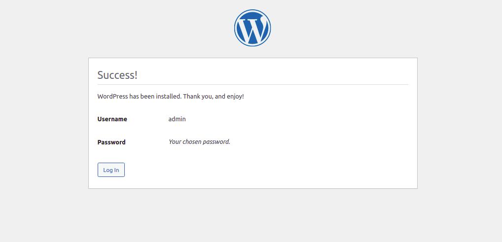 WordPress Installation Finished Page