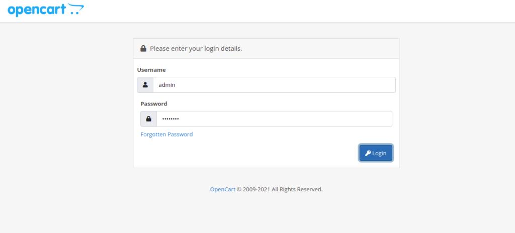 Opencart Login Page