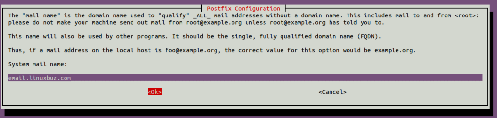 Postfix select domain name