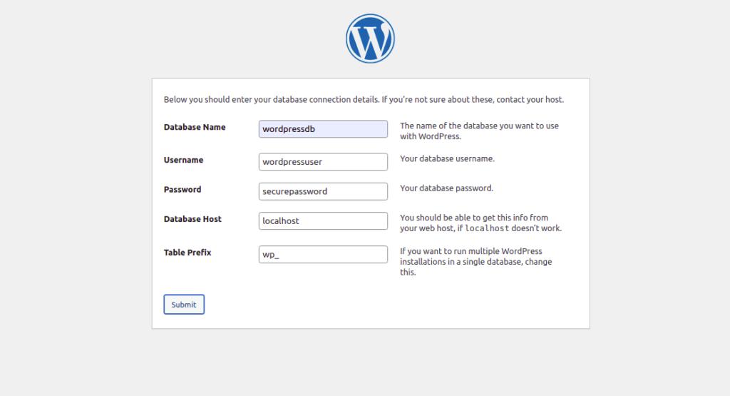 WordPress Database Configuration