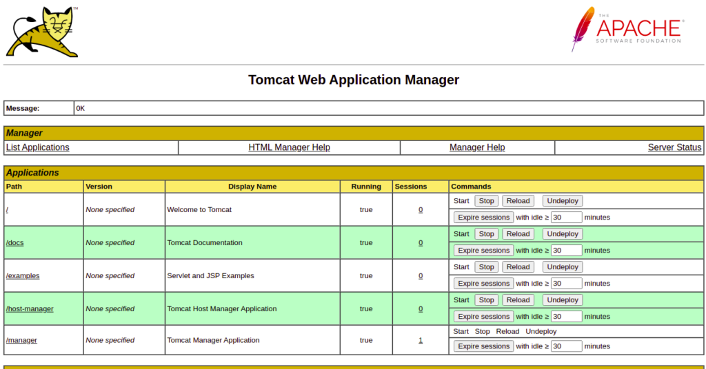 Tomcat Manager Page