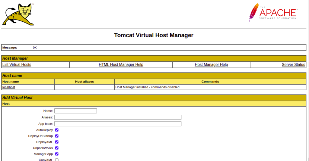 Tomcat Host Manager Page